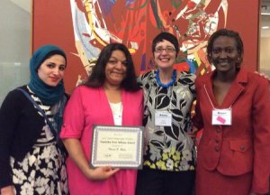 2015 Timothy Dow Adams Award Winners with a/b editor, Ricia Chansky: Zeinab McHeimech, Theresa N. Rojas, Chansky, and Lisa R. Brown. Not pictured: Luis Adolfo Gomez.